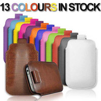 Wholesale Pouch For Inch Tab - Pull Tab Leather Case Pouch Pocket For 3.5-5.5 inch iPhone 4S 5S Samsung Galaxy S3 S4 Mini S5 Note 2 3 S7562 HTC ONE M7 M8 Sony Xperia Z1 Z2