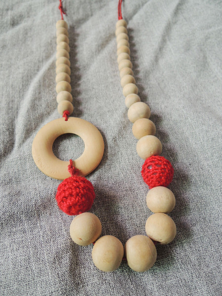Knitted Red wooden crochet Nursing Necklace wooden Crochet beads baby wooden ring Teething Toy NW1490