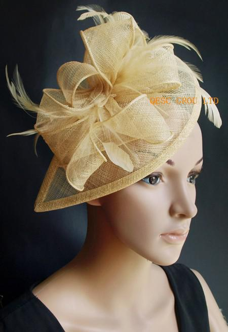 2018 Champagne Gold Sinamay Fascinator/Hair Accessory With ...