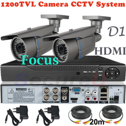 Wholesale 2ch Cctv Dvr - Best selling top rated 2ch cctv kit 1200TVL waterproof weatherproof bullet monitor thermal camera 4ch D1 DVR video recorder HDMI