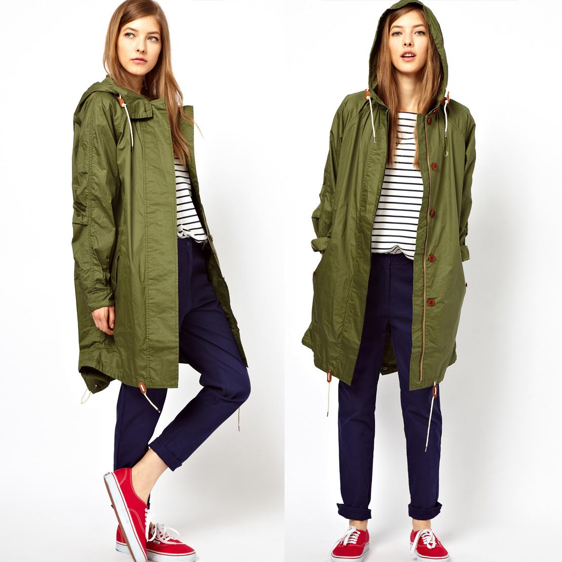 Trench Coat Womens Loose Long Army Green Trench with Hooded ...