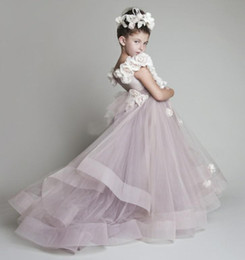 Wholesale Silver Christmas Dress - 2017 New Lovely New Tulle Ruffled Handmade flowers One-shoulder Flower Girls' Dresses Girl's Pageant Dresses