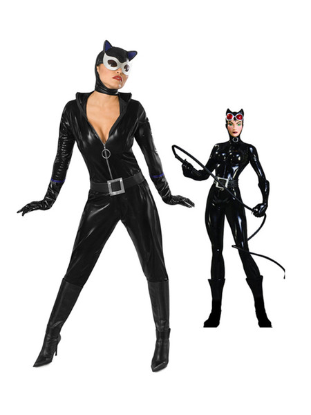 Catwoman Black Shiny Metallic Freeshipping One Piece Superhero Costume for Woman