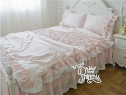 Pink Ruffles Lace Bedding Sets NZ - pink Pure cotton Bedding in bag cake ruffle American European princess bedding sets King Queen size wedding bed kit Luxury lace duvet cover