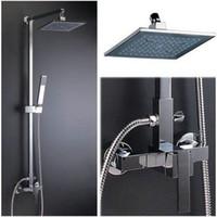 wholesale bathroom luxury chrome rain shower head arm set faucet with handy unit tap s 643 in bulk