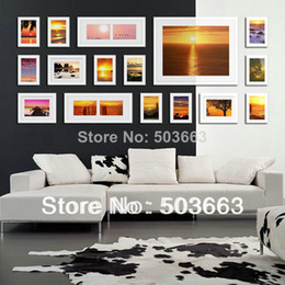 Wholesale Picture Mounts - 2014 Fashion 16 Box White Solid Wood White Color Combination Wall Mounted Picture Photo Frame Art Home Decor L-A51