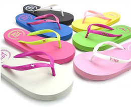 Wholesale Comfortable Fashion Heels - PINK Flat Heel Flip Slippers Comfortable Summer Beach Flip Flops, Brief Casual Sandals Shoes For Women