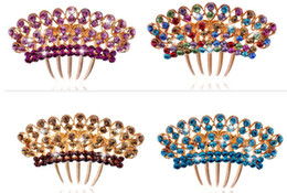 Wholesale Colorful Hair Twists - Fashion women bride diamond crown hair combs colorful crystal tiaras twist inserted comb wedding party hair jewelry
