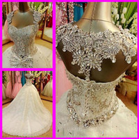 Wholesale Embroidery Swarovski Crystals - 2014 Newest Crystal Wedding Dresses With Spaghetti Swarovski Beads Backless Ball Gown Chapel Train Lace Customed Dress Free petticoat veil