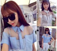 organza shirts großhandel-2014 mode organza patchwork shirts für frauen kurzarm transparent rs casual wear ts-126
