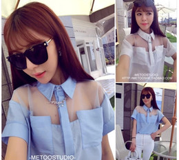 Wholesale 2014 Fashion Organza Patchwork Shirts For Women Short Sleeve Transparent rs Casual Wear TS