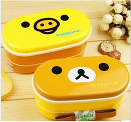 Wholesale Rilakkuma Lunch Boxes - Free shipping 2 colors Relax Bear heat preservation lunch box Rilakkuma Bento with Chopsticks hot selling TOP SALE free shipping