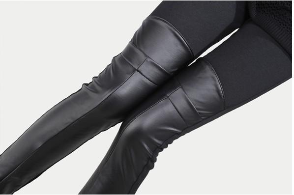 Legging de cuero sintético de PU de mujer Leggings sólidos de moda Pantalones elásticos de retazos Tallas grandes LG-612