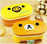 Wholesale Lunch Boxes Heat Food - Free shipping 2 colors Relax Bear heat preservation lunch box Rilakkuma Bento with Chopsticks hot selling TOP SALE free shipping