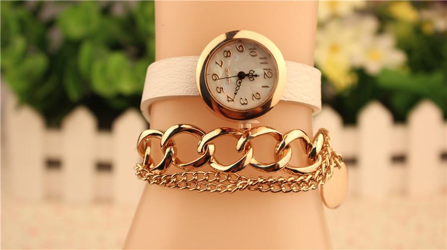 Art- und Weisequarz-Armband-Uhr-Leder-Verpackung um Kettenarmband-Dame Women Wrist Watch Mix Colors Drop geben Verschiffen frei