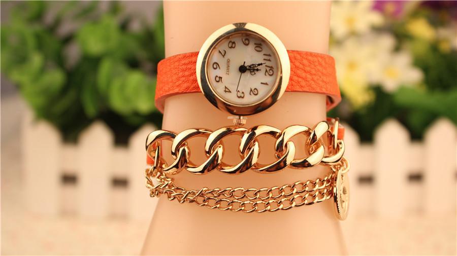 Pulseras de cuarzo de moda reloj de cuero envuelto alrededor de pulsera de cadena reloj de pulsera de mujer para mujer mezcla de colores envío gratis