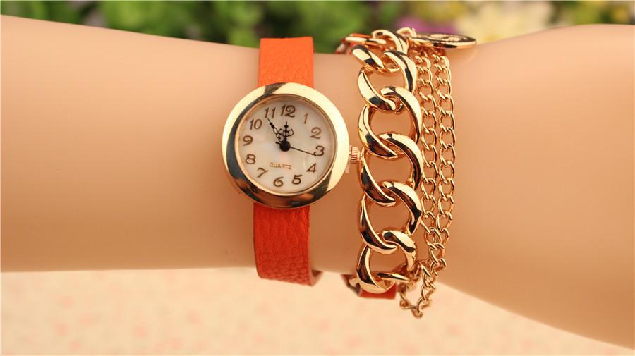 Hot Sale Quartz Armband Klockor Läder Wrap Around Chain Armband Lady Kvinnor Armband Klockor Mix Färger Gratis Drop Shipping