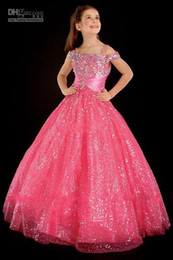Wholesale Hot Sequin Dresses - 2014 Hot Off Shoulder Little Rosie Pageant Dresses Rhinestone Sequin Lace Ruffles Girl's Pageant Dresses Princess Gown AS14