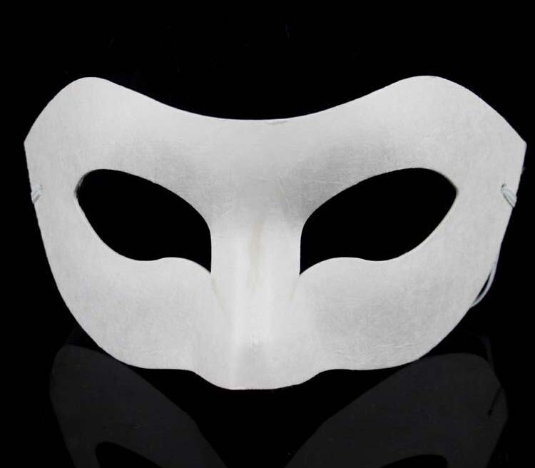 أبيض نصف الوجه قناع هالوين ورقة فارغة قناع زورو DIY الهيب هوب قناع أقنعة رسمت باليد شارع الرقص 20 قطعة / الوحدة