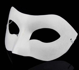 Wholesale Hop Dance - White Half Face Mask Halloween blank paper Zorro Mask DIY Hip-Hop mask Hand-painted masks street dancing 20pcs lot