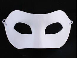 halloween paper face masks Canada - White Half Face Mask Halloween blank paper Zorro Mask DIY Hip-Hop mask Hand-painted masks street dancing Christmas gifts 30pcs lot