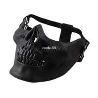 airsoft маски бесплатная доставка оптовых-Free Shipping 2014 Promotion Mens Skull Skeleton Airsoft Game Hunting Biker Ski Half Face Gear Mask Guard 5[4003-012]