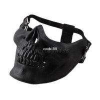 máscara de media cara del cráneo del airsoft al por mayor-Envío gratis 2014 promoción para hombre del esqueleto del cráneo Airsoft caza del juego del motorista de esquí media cara Gear Mask Guard 5 [4003-012]