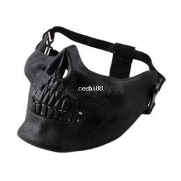 Máscara facial de la media del cráneo del airsoft online-Envío gratis 2014 promoción para hombre del esqueleto del cráneo Airsoft caza del juego del motorista de esquí media cara Gear Mask Guard 5 [4003-012]