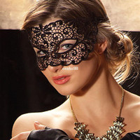 Wholesale Lace Masks For Sale - Supernova Sale Free Shipping 2014 New Black Cutout Mask Lace Veil Sexy Prom Party Halloween Masquerade Dance Mask Blindages 7471