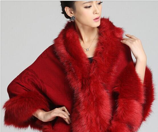 Preciosa lana sólida pashmina sensación arcylic de piel sintética jacquard Cabo Poncho Cardigan tejer señora chal robó envolturas suéter # 3620