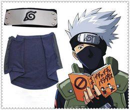Wholesale Naruto Japanese Headband - 2pc set! Naruto KAKASHI Cosplay Ninja Mask + Cosplay Headband