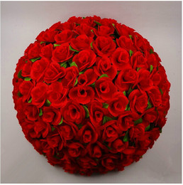 "silk flowers wholesale kissing balls UK - 50 CM 20"" New Artificial Silk Flower Rose Kissing Ball Super Large Size Lantern for Christmas Ornaments Party Wedding Decoration"