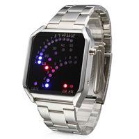 led kırmızı mavi saat toptan satış-Lüks saatler Unisex 29 LED Kırmızı Mavi Işık Gümüş Çelik Bant Dijital Bilek İzle erkekler spor erkek saatler mens-saatler kristal cam yüz
