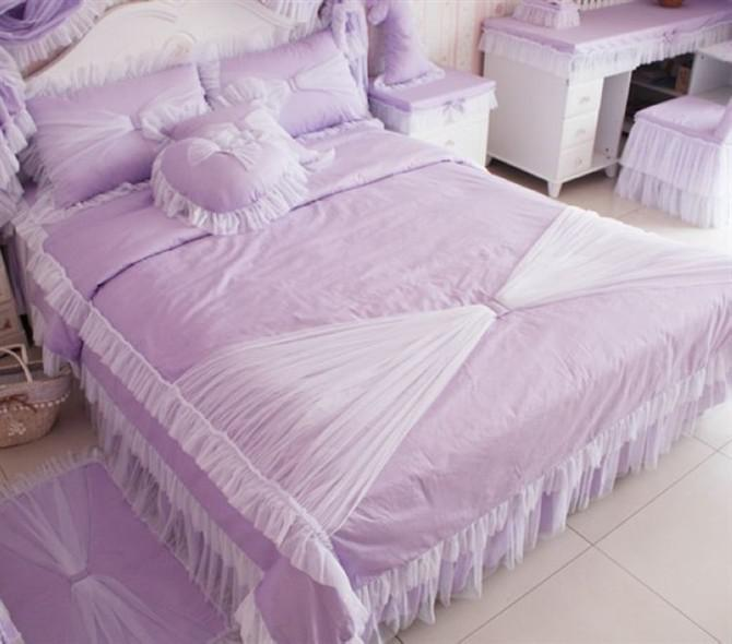 Ems Korean Purple Pink Queen Size Bedding Bed Comforter Set City