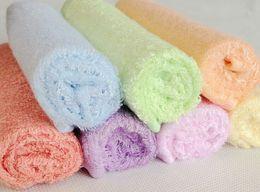 Wholesale Cartoon Girls Bath Towels - 100% Bamboo Fibre FACE WASHER TOWEL baby wash cloth bath towel flannel wipe mixed colour 25x25CM