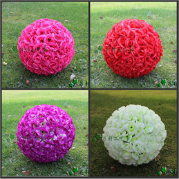 "Wholesale Wholesale Christmas Ornaments Balls - 30 CM 12"" New Artificial Encryption Rose Silk Flower Kissing Balls Hanging Ball Christmas Ornaments Wedding Party Decorations 5pcs lot"