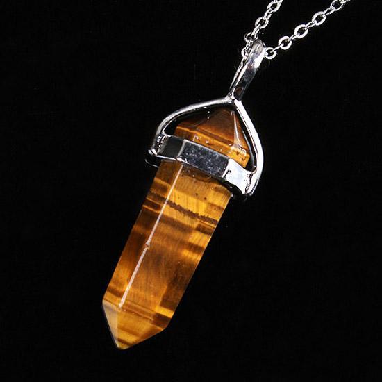 Venta al por mayor 10 Unids Charm Silver Plated Orden Mixta Piedra Hexágono Forma Chakra Collar Colgante Curativo con cadena