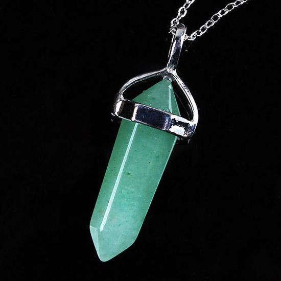 toptan 10 Ad Charm Gümüş Kaplama Karışık Sipariş Taş Altıgen şekli Chakra Healing kolye kolye zinciri ile