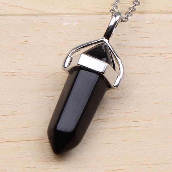 Trasporto libero all'ingrosso argento placcato nero agata esagonale colonna chakra guarigione collana pendente gioielli di fascino