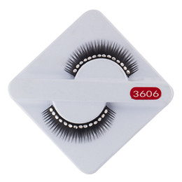 Wholesale Hair Hands Diamonds - Curling 10Pairs Beautiful cross long False Eyelashes with white diamonds Brand New Design Dropshipping