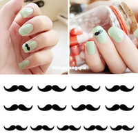Wholesale Moustache Nail Art - Wholesale-Nail Wraps Nail Art Foil Sticker, Black Moustache for Natural or False Nails Decoration Accessories + Free Shipping