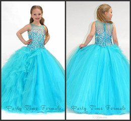 Wholesale Flower Embellishments - 2015 Beaded Stones Girls Pageant Dresses Jewel little Kids Ball Gown Embellishment Girls Pageant Dress Flower Girl Gowns Sweep Train AS49