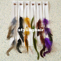 Wholesale Ombre Feathers Hair - Wholesale-Free shipping 50 pcs lot 33-35 cm Mixed Feather Hair extension feathers products hair accessories