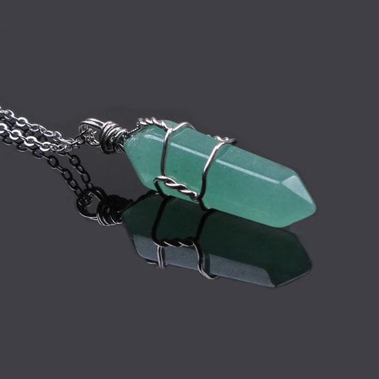 Ücretsiz Kargo Toptan 10 Adet Gümüş Kaplama Karışık Sipariş Kuvars Taş Altıgen Tel Sarma Kolye Kolye Charm Takı