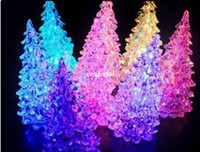 Wholesale Crystal Christmas Tree Decorations - [Free Shipping] 5pcs lot, Crystal New year Christmas Tree Night Lamp Christmas Decoration Gift, LED Night Light, Halloween Gifts
