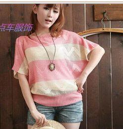 Wholesale Ladies Pink Wool Coats - striped Batwing Cape Cardigan Knitting Coat lady Poncho shawl wraps Sweater #3634