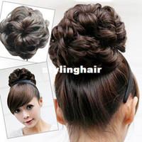 Wholesale Blonde Buns - Wholesale-Women's 1 Pcs New Fashion Curly Hair Buns Hairpiece Bud ponytail horsetail Black Dark Brown Light Brown Blonde