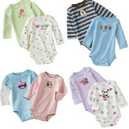 Wholesale Baby Body Romper - Wholesale --- Baby Rompers Body Suit One-Piece Rompers Long Sleeve Romper Onesies 100% Cotton Baby Clothing 0-24m FREE SHIPPING!