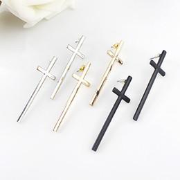 Wholesale Dangle Cross Stud Earrings - Fashion design elegant alloy punk dangle cross stud earrings