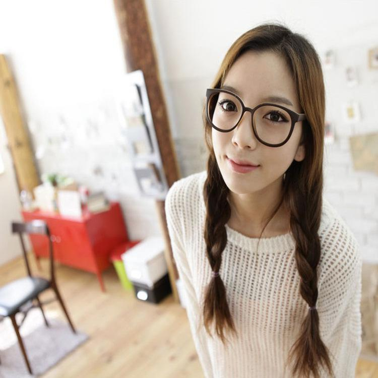 32e8edb84a3 8133 Korean Big Black Round Frame Glasses Retro Leopard Series Plain Male  And Female Non Mainstream Plain Glass Spectacles Have Lenses Super  Sunglasses ...
